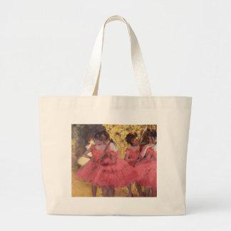 Bailarines en rosa por el bolso de Edgar Degas Bolsa De Tela Grande