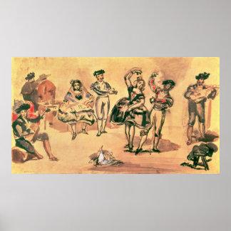 Bailarines españoles, 1862 poster