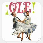 ¡Bailarines españoles del flamenco de las mujeres Pegatina Cuadrada