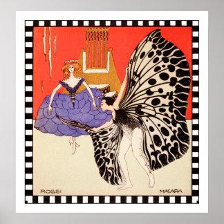 Bailarines - impresión del arte del vintage de Kol Poster