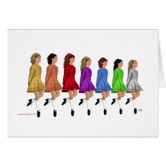 Bailarines irlandeses del paso - línea del arco ir tarjeta de felicitación