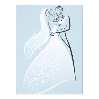 """Bailarines retros azules del boda que asientan la invitación 6.5"""" x 8.75"""""""
