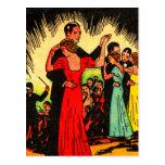 Bailarines retros del salón de baile del kitsch de postales