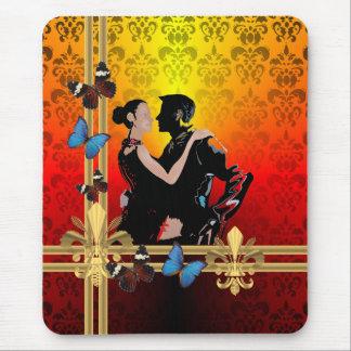 Bailarines románticos del salón de baile del tango tapetes de raton
