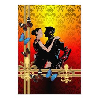 """Bailarines románticos del tango en el damasco invitación 3.5"""" x 5"""""""