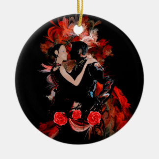Bailarines románticos del tango en fractal rojo adorno navideño redondo de cerámica