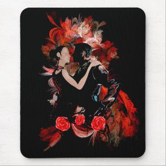 Bailarines románticos del tango en fractal rojo tapete de ratón