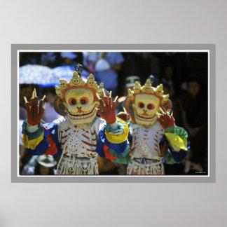 Bailarines tibetanos del monje póster