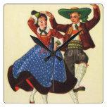 Bailarines tiroleses del vintage, Austria Reloj Cuadrado