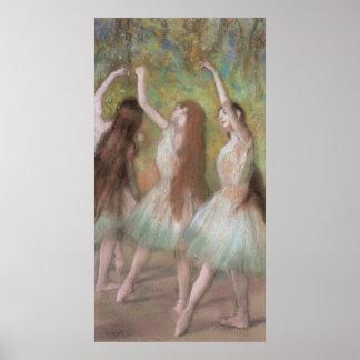 Bailarines verdes de Edgar Degas, arte del ballet Póster