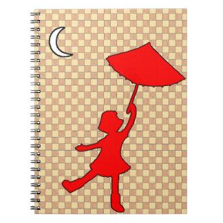 Baile a cuadros del chica con su paraguas note book