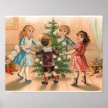 Baile alrededor del árbol de navidad póster