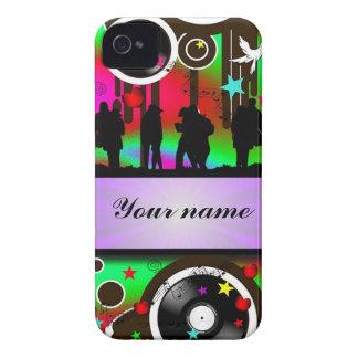 Baile colorido de la gente del fiesta iPhone 4 Case-Mate cárcasa