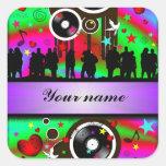 Baile colorido de la gente del fiesta calcomanía cuadradas personalizada