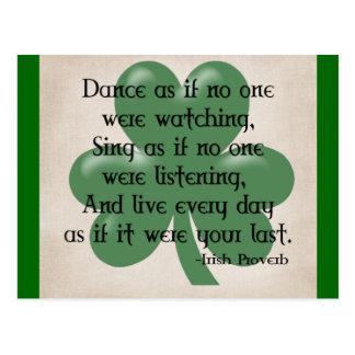 Baile como si:: Proverbio irlandés (ennegrezca el Postal