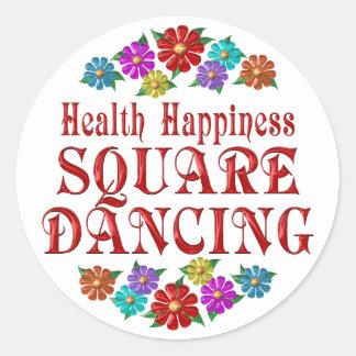 Baile cuadrado de la felicidad de la salud pegatina redonda