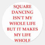 baile cuadrado pegatinas redondas