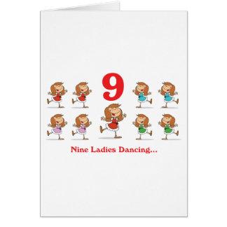 baile de 12 señoras de los días nueve tarjeta de felicitación