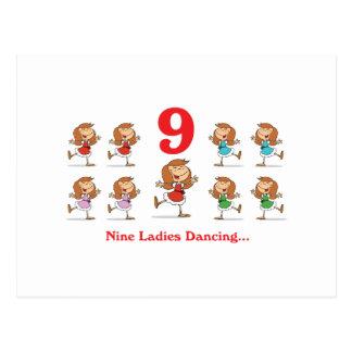 baile de 12 señoras de los días nueve tarjeta postal