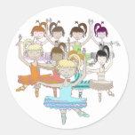 Baile de 9 señoras etiqueta redonda