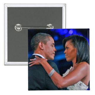 Baile de Barack y de Michelle Obama en el Bal inau Pin Cuadrada 5 Cm