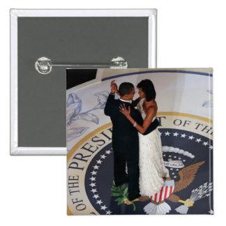 Baile de Barack y de Michelle Obama en la bola ina Pin Cuadrada 5 Cm