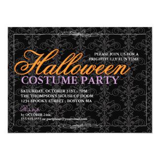 """Baile de disfraces negro elegante de Halloween del Invitación 5.5"""" X 7.5"""""""
