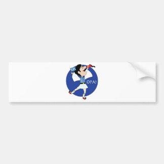¡Baile de Evzone del Griego con la bandera OPA! Etiqueta De Parachoque