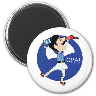 ¡Baile de Evzone del Griego con la bandera OPA! Imán Redondo 5 Cm