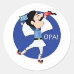 ¡Baile de Evzone del Griego con la bandera OPA! Pegatina Redonda