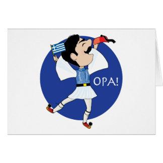¡Baile de Evzone del Griego con la bandera OPA! Tarjeta De Felicitación