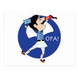 ¡Baile de Evzone del Griego con la bandera OPA! Postal