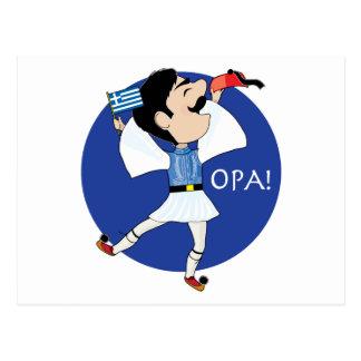 ¡Baile de Evzone del Griego con la bandera OPA! Tarjetas Postales
