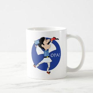 ¡Baile de Evzone del Griego con la bandera OPA! Taza Básica Blanca