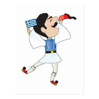 Baile de Evzone del Griego con la bandera Postal