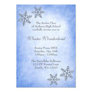 Baile de fin de curso azul de los copos de nieve invitación 12,7 x 17,8 cm