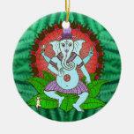 Baile de Ganesh de la paz Adorno Redondo De Cerámica