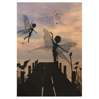 Baile de hadas lindo en un embarcadero póster de madera