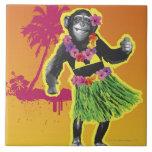Baile de Hula del chimpancé Azulejo Cuadrado Grande
