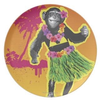 Baile de Hula del chimpancé Plato De Cena