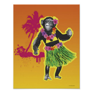 Baile de Hula del chimpancé Póster