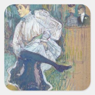 Baile de Jane Avril, c.1892 Pegatina Cuadrada