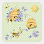 Baile de la abeja pegatinas cuadradases