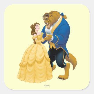 Baile de la belleza y de la bestia pegatina cuadrada