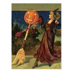 Baile de la bruja de Halloween del vintage con una Postales