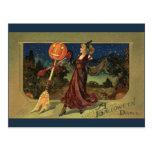 Baile de la bruja de Halloween del vintage con una Postal