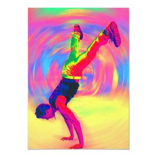 "Baile de la calle, arco iris, radial invitación 5"" x 7"""
