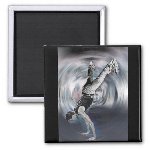 Baile de la calle - blanco y negro imán cuadrado