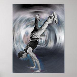 Baile de la calle - blanco y negro póster