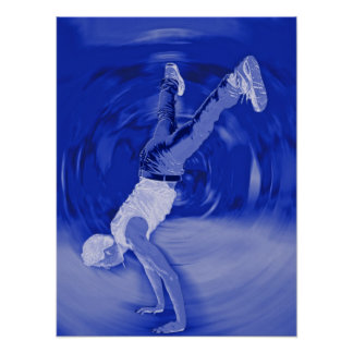 Baile de la calle - en azul póster